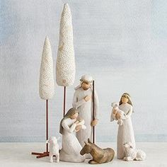 Willow Tree Holy Family Nativity Figurines With Cypress Trees Set of 8 for sale online Willow Tree Engel, Willow Tree Figuren, Willow Tree Nativity, Sculpture Art, Sculptures, Cypress Trees, Holy Family, Outdoor Art, A Christmas Story