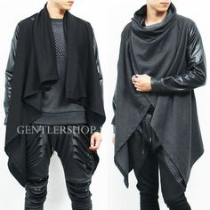 Avant-Garde-Mens-Snake-Pattern-Leather-Arm-Draping-Collar-Long-Cardigan-GENTLER