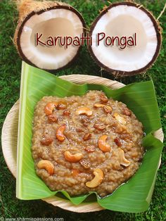 karupatti pongal recipe pongal made with raw rice,dal and sweetened with palm jaggery.easy palm jaggery pongal recipe with step by step pictures. Tart Recipes, Sweets Recipes, Rice Recipes, Yummy Recipes, Recipies, Yummy Food, Indian Dessert Recipes, Indian Sweets, Indian Food Recipes