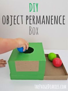 DIY Object Permanence Box – The Paige Diaries - montessori Baby Learning Activities, Toddler Learning Activities, Infant Activities, Kids Learning, 8 Month Old Baby Activities, Sensory Activities, Baby Sensory Play, Baby Play, Sensory Kids