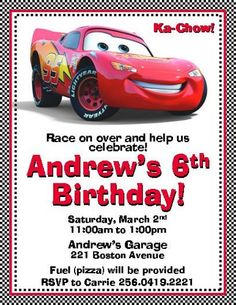 Disney Cars Lightning McQueen Invitations