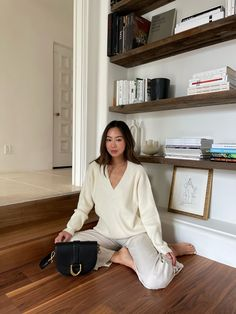 What I Wear On A Wednesday | Song of Style Song Of Style, Street Style, Simple Bags, Wide Leg Trousers, Mode Style, What I Wore, Chic, Sweaters, Sweater