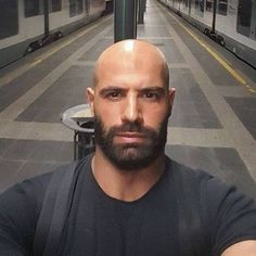 Featuring cool and edgy hairstyles for men with beards and the best all-natural hair and beard grooming products to achieve those styles. Proudly made in the USA. Bald Head With Beard, Bald Men With Beards, Great Beards, Hairy Men, Bearded Men, Best Beard Balm, Bald Men Style, Beard Images, Hair And Beard Styles