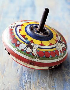 spinning, toy, antique, tin top, 1950s