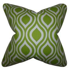 Poplar Geometric Chartreuse Feather Filled 18-inch Throw Pillow