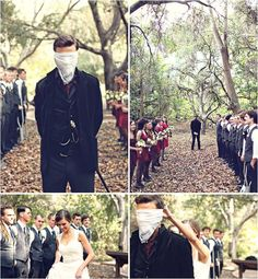 I love this idea of blindfolding the groom as if he is about to walk the plank, with the bride taking it off and revealing herself to him at the end of the aisle.