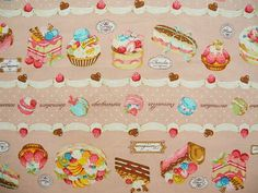 Cotton  fabric sweet cakes and pastry  100% by mycottongarden