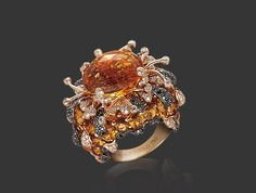 Lava Citrine and Diamond Ring by Pascal Mouawad