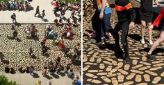 Canadian architect Jean Verville's latest installation, DANCE FLOOR, encourages people to dance their way into Montreal's Museum of Fine Arts by following 5000 gold footprints.