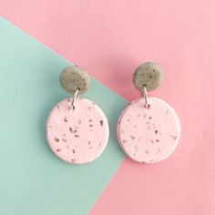 "Image of ""Chloe"" Oval drop polymer clay earrings pink & grey"