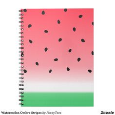 Watermelon Ombre Stripes Spiral Notebook at Zazzle.  It can be personalized with any text!  #BackToSchool #Supplies
