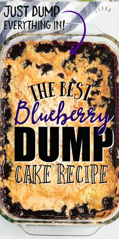 Blueberry dump cake is near perfection. It combines canned blueberry pie filling with shredded coconut, melted butter and yellow cake mix. It comes together in just moments and bakes to create a gol Cake Mix Desserts, Oreo Dessert, Köstliche Desserts, Delicious Desserts, Dessert Recipes, Dessert Healthy, Fruit Dessert, Indian Desserts, Fruit Pie