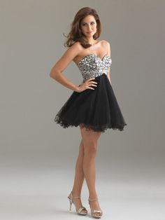 Short Sleeveless Black Organza Silver Sequined Bodice Strapless Sweetheart Neckline Cocktail Dress