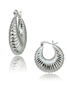 Lord & Taylor Sterling Silver Shrimp Hoop Earrings Women's Silver