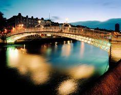 Ireland - Dublin, the River Liffey, and the Ha'penny Bridge