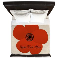 Red Fluffy Holiday Season Flower Gift King Duvet. Red Anemone, abstract.Personalize it with your own text!