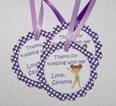 Gymnastics Party - Set of 10 Gymnastics Personalized Favor Tags by The Birthday House. $8.00, via Etsy.
