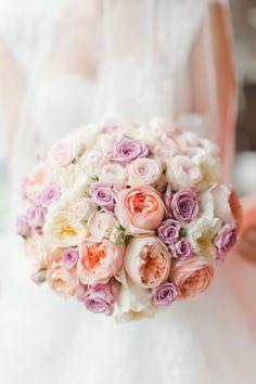 Peach, pink and purple wedding bouquet