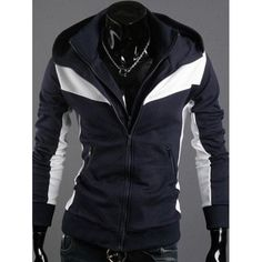 c873c913f Fashion Slimming Color Block Zipper Embellished Long Sleeves Polyester  Hoodies For Men