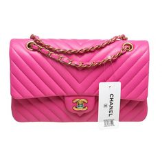 Chanel Hot Pink Chevron Lambskin Classic 2.55 Handbag 15s New ($5,995) ❤ liked on Polyvore featuring bags, handbags, shoulder bags, handbags and purses, pink shoulder bag, summer purses, summer handbags, chanel and lambskin purse
