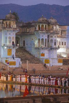 Photograph-India, Rajasthan, Pushkar, lakeside ceremony during Pushkar Camel Photo Print expertly made in the USA Jaipur, Rajasthan India, Om Namah Shivaya, Places To Travel, Places To Visit, Photo Souvenir, Amazing India, Indian Architecture, Largest Countries
