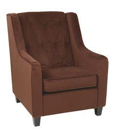 Love this Chocolate Velvet Tufted Back Armchair on #zulily! #zulilyfinds
