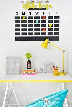 Calendário de parede estilo lousa: faça você mesma! Fazer um calendário lousa é super fácil, rápido, prático e barato, e ajuda muito na organização!