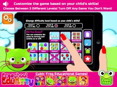 So many amazing educational games to choose from! Totally customizable for your kids needs! https://itunes.apple.com/us/app/preschool-edukitty-free-amazing/id655192558?mt=8