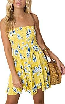 c630c5f60a49 Angashion Women's Floral Strapless Pleated Flowy Skater Mini Tube Dress at Amazon  Women's Clothing store: