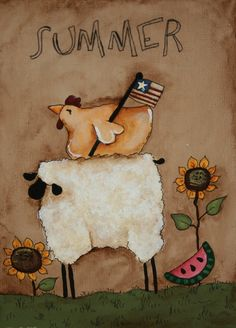 Items similar to Primitive sheep and Rooster - Summer - Hand Painted on Canvas Panel - Americana - OFG on Etsy Primitive Sheep, Primitive Folk Art, Primitive Crafts, Primitive Christmas, Country Primitive, Country Christmas, Christmas Christmas, Wood Crafts, Arte Country