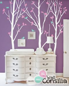 In Stock at www.wallconsilia.com  Creative wall decal with flying birds and large trees Indulge your little one's imagination with this stunning vinyl wall decal set perfect for any nursery or bedroom. We think it's a great choice for gender neutral nursery!