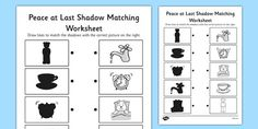 Peace at Last Shadow Matching Worksheet - peace at last, shadow, matching, worksheet Best Children Books, Childrens Books, Peace At Last, Mud Hut, Story Sack, Matching Worksheets, Last Shadow, Primary Resources, Work Activities