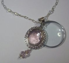 Pink Dangle Crystal Swivel Magnifying Glass Pendant Necklace | jenstarr - Jewelry on ArtFire