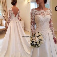 Classic Satin with Tulle and Lace Applique A Line Long Sleeve Formal Wedding Dress - Ball Gown Dresses - Wedding Dresses - Weddings