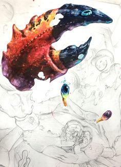 26591A3A54799E7919A343 (392×544) Crab Art, Fish Art, Copic Drawings, Art Drawings, Lobster Art, Object Drawing, Korean Art, Lowbrow Art, Marker Art