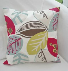 """NEW 16"""" RASPBERRY RED TAUPE BROWN LIME GREEN DUCK EGG BLUE LEAFY CUSHION COVER   eBay"""
