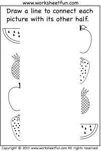 Picture Matching Worksheet – Match the Other Half of the Picture  – Connect Other Half – 1 Worksheet / FREE Printable Worksheets