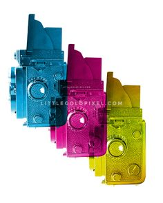 Tri-Color Cameras Free Art Printable • Little Gold Pixel