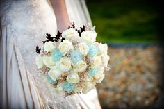 Bridal bouquet with beaded roses for a Tiffany blue and brown wedding. Tiffany blue bouquet.