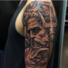 Ancient Greek Tattoo Meanings Custom Tattoo Design Chest Zeus Tattoo By Jun Cha . Poseidon Tattoo, Zeus Tattoo, God Tattoos, Body Art Tattoos, Ancient Greek Tattoo, Karten Tattoos, Thigh Piece Tattoos, Greek God Tattoo, Trident Tattoo
