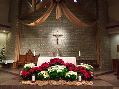 Amazing Christmas Church Decorations Ideas For 2019 - Advent Church Altar Decorations, Church Christmas Decorations, Christmas Stage, Christmas Service, Christmas 2015, Christmas Flower Arrangements, Christmas Flowers, Floral Arrangements, Altar Flowers