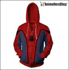 Unisex Superhero Halloween Cosplay Costume Cotton Fleece Hoodie Jacket with Zipp Spiderman Hoodie, Spiderman Outfit, Spiderman Spider, Superhero Halloween, Superhero Cosplay, Fleece Hoodie, Hoodie Jacket, Spiderman Classic, Moda Geek