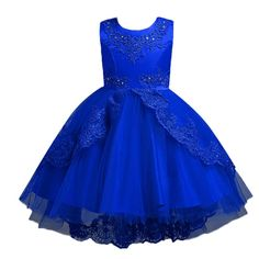 4f507ce471a LNGRY Baby Girls DressToddler Newborn Kid Grils Princess Embroidery Bowknot  Gauze Gown Formal Dress Clothes 23 Years Old Dark Blue -- Click the picture  for ...