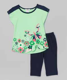 Love this Apple Floral Butterfly Tunic & Leggings - Toddler & Girls by Littoe Potatoes on #zulily! #zulilyfinds