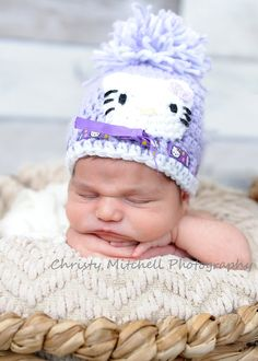 Boutique Crochet Hat with  Kitty newborn-24monthgirl by tanya1975