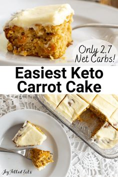 This delicious Almond Flour Carrot Cake Recipe is the only one you will need! It's decadent, moist, and has the perfect tender crumb. Topped with homemade cream cheese icing, it doesn't get much better than this. Besides being delicious, it also happens to be gluten-free, keto-friendly, sugar free, and THM. Low Sugar Recipes, Almond Flour Recipes, No Sugar Foods, Keto Recipes, Gluten Free Desserts, Easy Desserts, Delicious Desserts, Keto Desserts, Atkins Desserts
