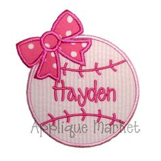 Machine Embroidery Design Applique Baseball Bow by tmmdesigns, $4.00