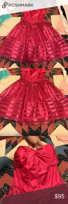 Hot pink betsey Johnson prom dress Worn once to a wedding dinner, also can be a prom dress. Perfect condition, such a fun color!! Betsey Johnson Dresses Strapless