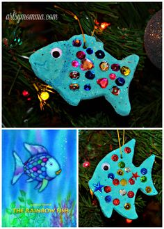 Dough Ornaments Inspired by The Rainbow Fish – Gluten-free Recipe! - The Rainbow Fish Book & Salt Dough Ornament -Salt Dough Ornaments Inspired by The Rainbow Fish – Gluten-free Recipe! - The Rainbow Fish Book & Salt Dough Ornament - The Rainbow Fish, Rainbow Fish Eyfs, Rainbow Fish Crafts, Salt Dough Projects, Salt Dough Crafts, Santa Crafts, Christmas Crafts, Christmas Photos, Felt Christmas