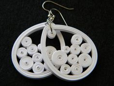 Medium White Paper Quilled Earrings by ParchmentPerfection on Etsy, $20.00